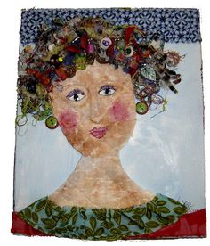 scrappy woman collage Original art by Linda Drake, collaged with fabric and paper and painted with acrylic paint. Embellished with fabric, threads, corrugated cardboard strips, paper shreds and beads.
