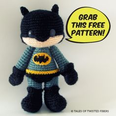 Batman - Free Amigurumi Pattern - PDF Instant Download here: https://app.box.com/s/wqlf2cr9dermch6b7qoa