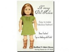 American Girl Doll Clothes Pattern: Ruffled Tee-Shirt Dress | Liberty Jane Doll Clothes Patterns For American Girl Dolls $3.99