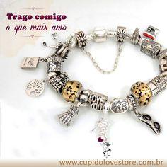 Sugestão de composição de pulseira com charms de prata.  #berloques #pingentes compatíveis com #pulseira #Pandora ou #bracelete #vivara
