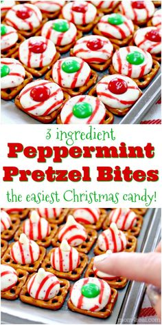 One of the easiest and most delicious holiday candies to make are these 3 Ingredient Peppermint Christmas Candy Pretzel Squares. They are the perfect mix of salty and sweet with a peppermint twist! #Christmas #Christmascandy #candy #holiday #peppermint via @Mom4Real