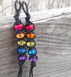 Girly and fun, and a wonderful stocking stuffer!   Natural Hemp Earrings Rainbow on Black Bohemian Hippie by 70x7song, $7.50