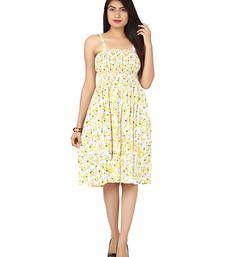 Buy Yellow plain cotton dress western-wear online