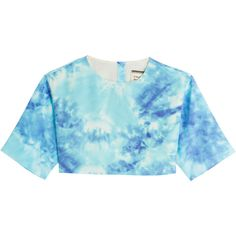 Fausto Puglisi Tie-Dye Print Silk Top (£135) ❤ liked on Polyvore featuring tops, tees, multicolor, fausto puglisi, blue short sleeve top, short sleeve silk top, tie dye tops and boxy top