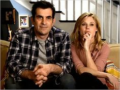 Form deals with the objects in the frame as well as the placing of them. This image from the show Modern Family, shows Claire and Phil sitting very close together so that they are not pulled apart by the sides of the frame.