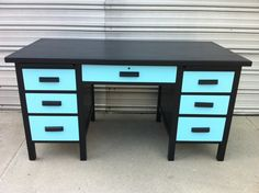 LOVE the color!    Incredible vintage two tone handpainted by CoolVintageFurniture, $260.00