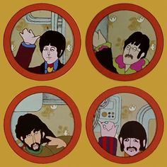 The 'Beatles' characters on the animated psychedelic film Yellow Submarine, 1968 - The (BEATLES) John, George, Ringo & Paul - Dunway Enterprises - http://dunway.us