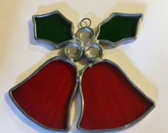 Two Red Bells With Holly And Three Clear Gems / christmas ornament / Tree / Sun Catcher / Stained glass