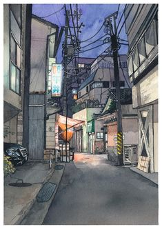 """The fourth piece in the """"Tokyo at Night"""" series of watercolors paintings. This time I used one of the photos we took with Kana on a little location hunting session near Kagurazaka in Tokyo. I especially liked the vegetable shop on the left with it's. Japan Watercolor, Watercolor City, Watercolor Sketch, Watercolor Illustration, Watercolor Paintings, Cityscape Drawing, City Drawing, Building Illustration, City Illustration"""