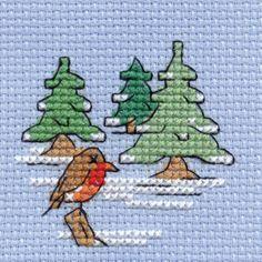 Hobbycraft Mini Christmas Cross Stitch Kit Robin And Tree | Hobbycraft