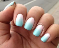 My Life in Turquoise: Gradient nail in mint green and baby pink