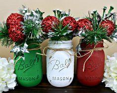Set of 3 Pint-Sized Christmas Mason Jar Decor. Painted Mason Jars. Christmas Decorations. Christmas Centerpiece. Rustic Christmas Decor.