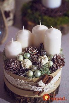 Nemusí to byť len klasický veniec z čečiny: 24 úchvatných dekorácií na adventný stôl, ktoré vám určite tak skoro nezvädnú! Christmas Advent Wreath, Diy Christmas Decorations For Home, Noel Christmas, Christmas Candles, Rustic Christmas, Christmas Crafts, Diy Advent Wreath, Xmas, Table Decorations