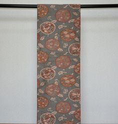 "$75 Vintage Obi – ""Yukiwa"" on Green.  Pattern called ""Yukiwa-Monyo"" (花輪文様) ,where various kinds of flowers such as Cherry Blossom (Sakura), Japanese Plum (Ume), Peony, Iris (Ayame) etc.  Valuable ""all-over"" pattern, called ""Zentsu-Gara""(全通柄), which can hardly be found these days.  kimokame.com"