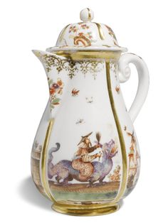 An early Meissen chinoiserie coffee pot and cover, circa 1723 - Alain. Porcelain Dinnerware, Porcelain Ceramics, China Porcelain, Painted Porcelain, Delft, Chinoiserie, Fine China Patterns, Dresden China, Dresden Porcelain