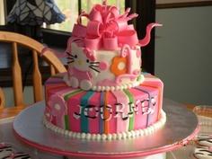 Hello Kitty/Zebra themed 1st Birthday cake By LogansMommie on CakeCentral.com