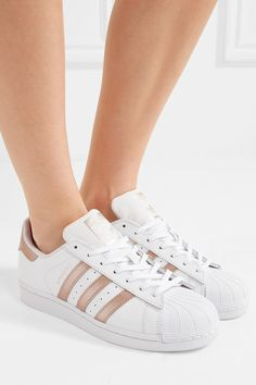 Sole measures approximately 20mm/ 1 inch White and rose gold leather Lace-up front