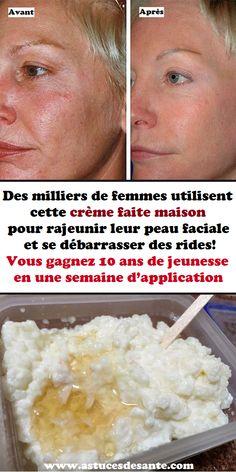 Des milliers de femmes utilisent cette crème faite maison pour rajeunir leur peau faciale et se débarrasser des rides! Vous gagnez 10 ans de jeunesse en une semaine d'application #femmes #rides #crèmefaitmaison #faitMaison #soinsdelapeau #jeunesse