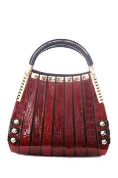 95f84afc71 Bravo Handbags Irina Signature Series Red Crocodile Print Medium Handbag  Italian Leather Handbags