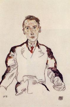 """Egon Schiele (1890-1918, Australia)""""Portrait of Heinrich Leager"""", Oil"""