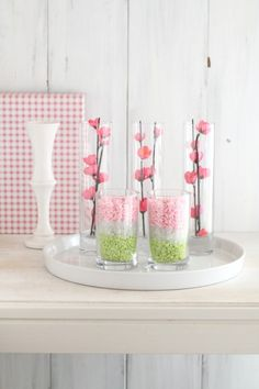 カラーサンド&造花+ガラスで♪ 雛祭りのプチ・インテリア