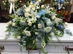 white and blue cascet flowers - Google Search