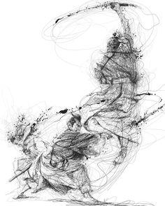 Samurai in pencil drawing by Vince Low Art Sketches, Art Drawings, Ballpoint Pen Drawing, Scribble Art, Art For Art Sake, Pen Art, Sports Art, Crayon, Fantasy Art