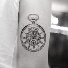 Pocket watch tattoo by Sanghyuk Ko