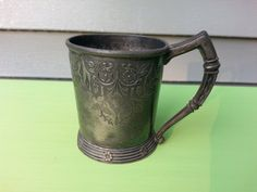 Antique Victorian Silver Plated Christening Cup with Embossing