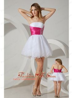 White A-line / Princess Strapless Beading Short Prom / Homecoming Dress Mini-length Organza- $92.02  http://www.fashionos.com  elegant evening prom dress | 2014 2015 short prom cocktail gown | a line mini length prom dress | prom dresses inspired by kaley cuoco at the emmys | beaded short prom dress
