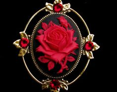 Cameo Brooch or Pendant Red Rose on Black with Crystal Accents