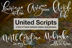 UNITED SCRIPTS, a font made up of hand-written words instead of letters! Every letter key you press will give you a unique hand-lettered name of a U.S. state. And the number keys and punctuation contain supporting phrases, so you can create a full hand-lettered design by pressing just a couple of keys!