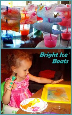 Bright Ice Boats: Sensory Play for Toddlers and Preschoolers. Summer science and engineering: we explored absorption and color mixing, water freezing and ice melting; played with water and paint, observed float or sink, stacked plastic cups.