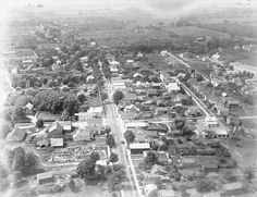old arial looking west down main st