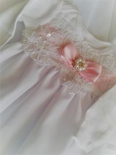 Newborn Girl Coming Home Outfit Designer Set_White Lace with Pink Accents_Christening Gown - - Outfit Designer, Designer Baby Clothes, White Bridal, Bridal Lace, Girls Coming Home Outfit, French Silk, Christening Gowns, Pink Accents, Newborn Outfits