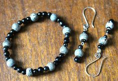Grey Speckled Glass Bead - Bracelet and Earring Set by APromisedHope on Etsy