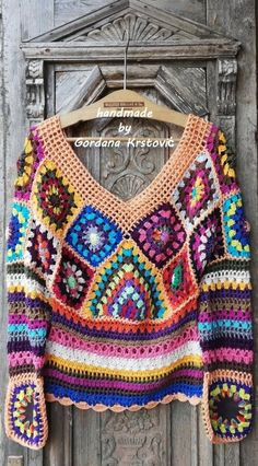 Boho Crochet, Crochet Coat, Crochet Blouse, Crochet Clothes, Diy Clothes, Hippie Tops, Boho Tops, Granny Square Sweater, Hand Washing