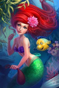 Ariel the little mermaid by LidTheSquid on DeviantArt Disney Kunst, Arte Disney, Disney Fan Art, Disney Love, Disney Magic, Little Mermaid Art, Ariel Mermaid, Mermaid Disney, Mermaid Princess