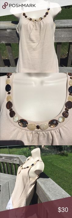 """Beaded Tank Top By Color Works In the second picture under the light stone there is a small mark. 100% cotton. Length is about 22 1/2""""  across is about 16"""" laying flat under the arms across Colour Works  Tops Tank Tops"""