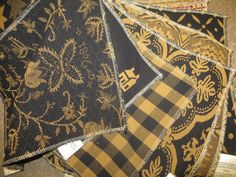 Black & Mustard Upholstery Fabric www.theredbrickcottage.com