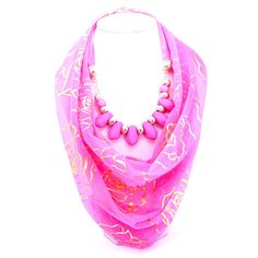Shop Beora Pink Scarf Print Necklace Worth Rs. 999.00 From Trendymela.com.  #pink #scarf #necklace #fashion #jewellery