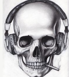 Skull With Headphones Drawing Skull Tattoo Design, Skull Design, Skull Tattoos, Cool Tattoos, Tatoos, Art Tattoos, Skull Headphones, Skull Pillow, Totenkopf Tattoos