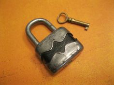 Vintage Padlock  Miniature Lock and Key by Suite22 on Etsy, $25.00