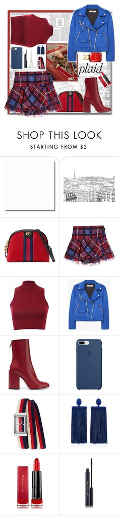 """Plaid"" by verlacomplacencia ❤ liked on Polyvore featuring Gucci, Jagger, Hilfiger Collection, Pilot, MANGO, Petar Petrov, Apple, Oscar de la Renta, Max Factor and Michael Kors"