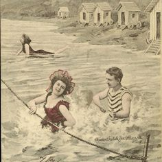 Antique Postcard Summer Fun Swimming at the by TheOldBarnDoor