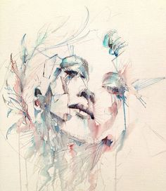 Media Paintings by British Artist Carne Griffiths Watercolor Face, Watercolor Portraits, Art And Illustration, Fine Art, Portrait Art, Painting Inspiration, Les Oeuvres, Painting & Drawing, Amazing Art