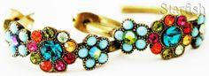 Michal Negrin Multicolor Crystal Flowers Hoop Earrings