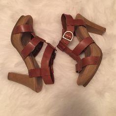 Dr. Scholls Heels Dr. Scrolls heels. Padded sole. Wooden heel. Strappy cognac leather. Uber comfortable. Work a handful of times. Dr. Scholls  Shoes Platforms