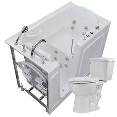 Universal Tubs Nova Heated 52.75 in. Walk-In Whirlpool Bathtub in White with 1.28 GPF Single Flush Toilet #WhirlpoolBathtubs
