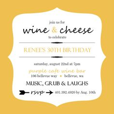 cute invite idea   wine and cheese party  let's get together, party invitations